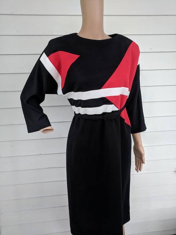 80s Sweater Dress Black White Red Dolman Sleeve 6