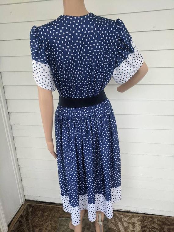 80s Polka Dot Dress Retro Blue 1980s Vintage L - image 3