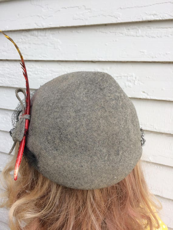 Gray Wool Hat 40s Soft Ombre Feather Robin Hood S… - image 4