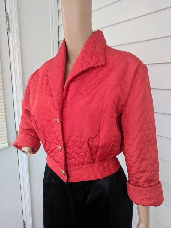 40s Red Lounge Set Quilted Jacket Black Satin Pant
