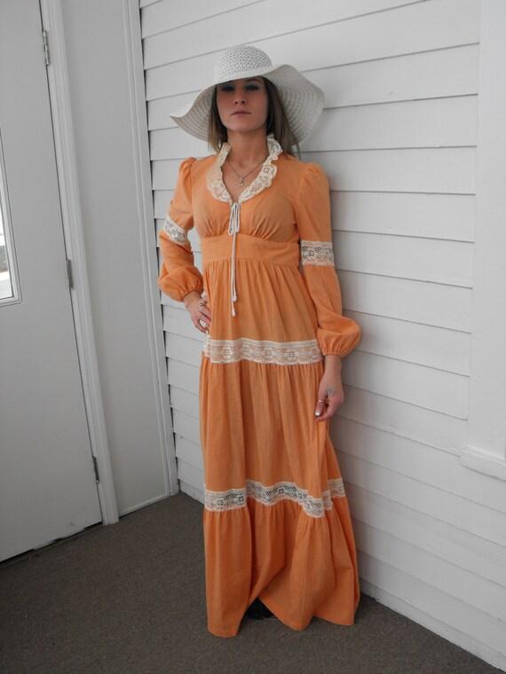 Prairie Dress Gunne Sax Style 70s Vintage Orange … - image 4