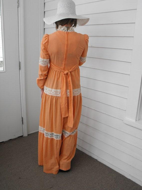 Prairie Dress Gunne Sax Style 70s Vintage Orange … - image 2