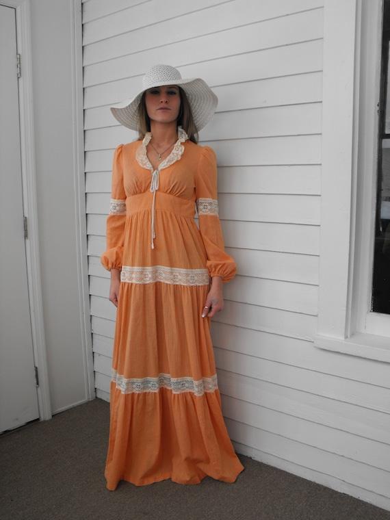Prairie Dress Gunne Sax Style 70s Vintage Orange … - image 6