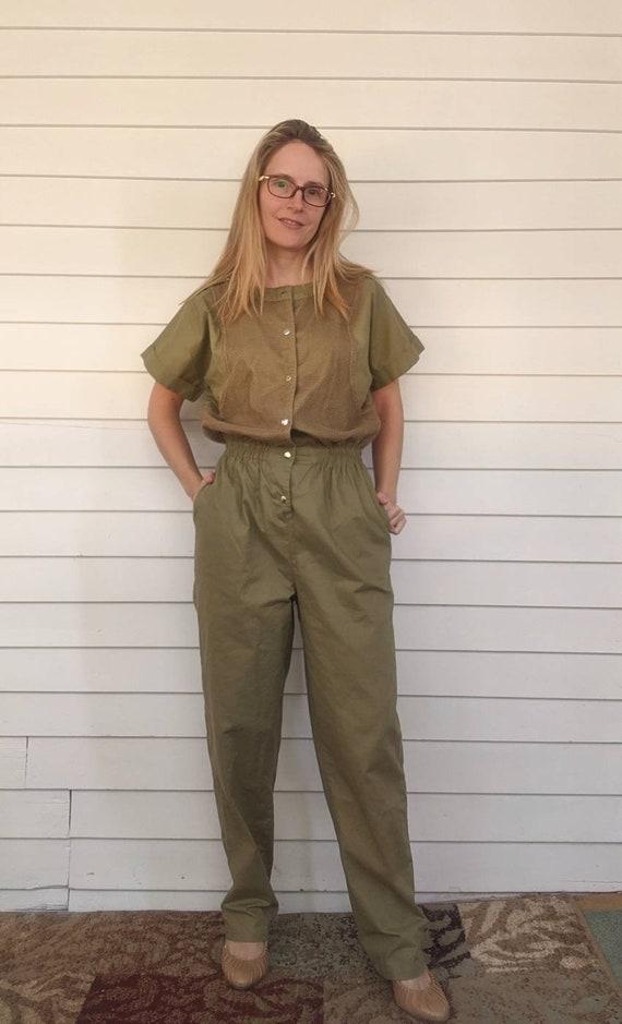 Green Khaki Cotton Jumpsuit 70s Vintage S