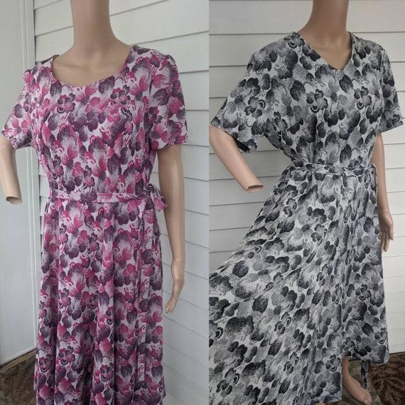 Mod Print Dress Polyester Vintage L XL 42 Bust