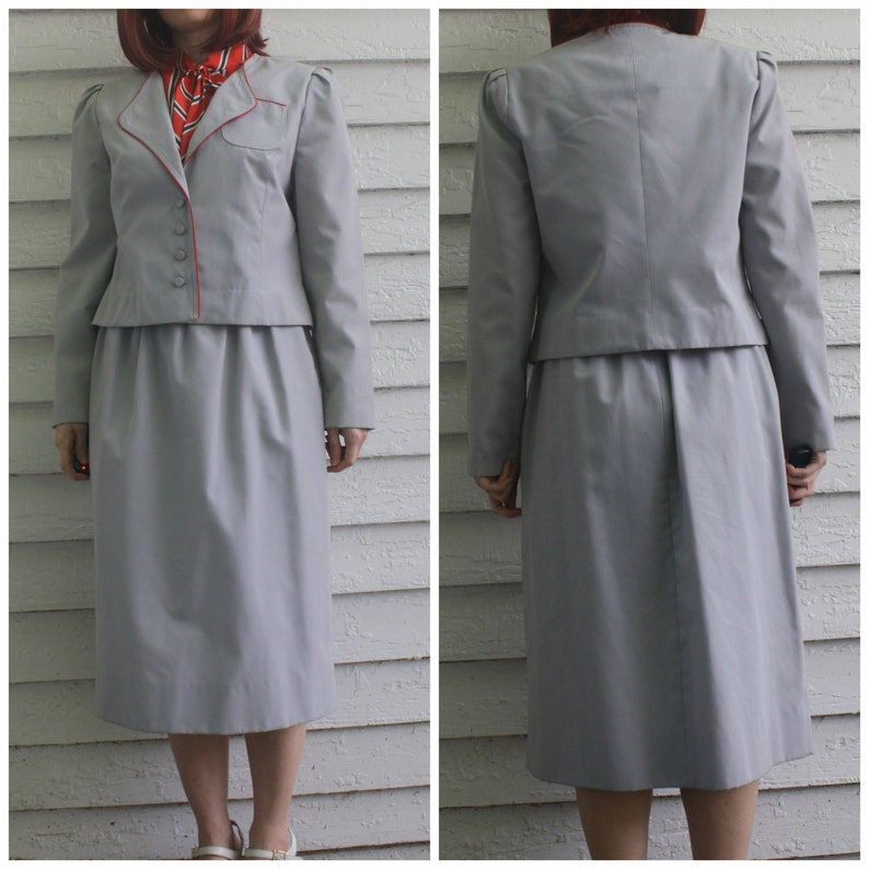 Red Striped Bow Dress with Gray Jacket 70s Librarian Secretary S