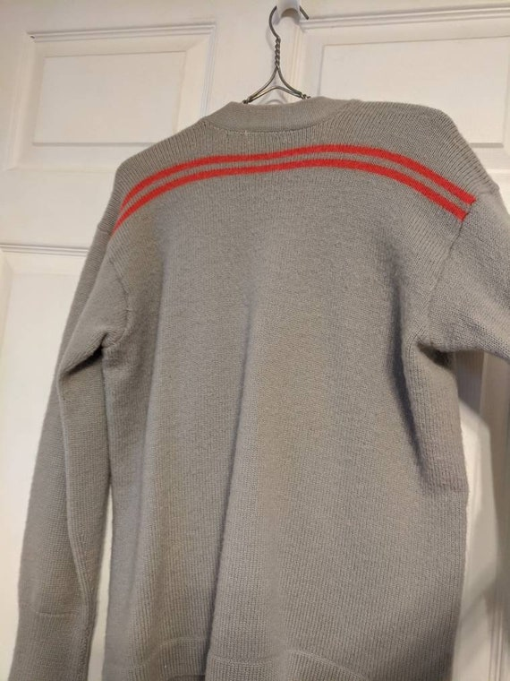 30s 40s Gray Red Striped Cardigan Sweater Mens Al… - image 5