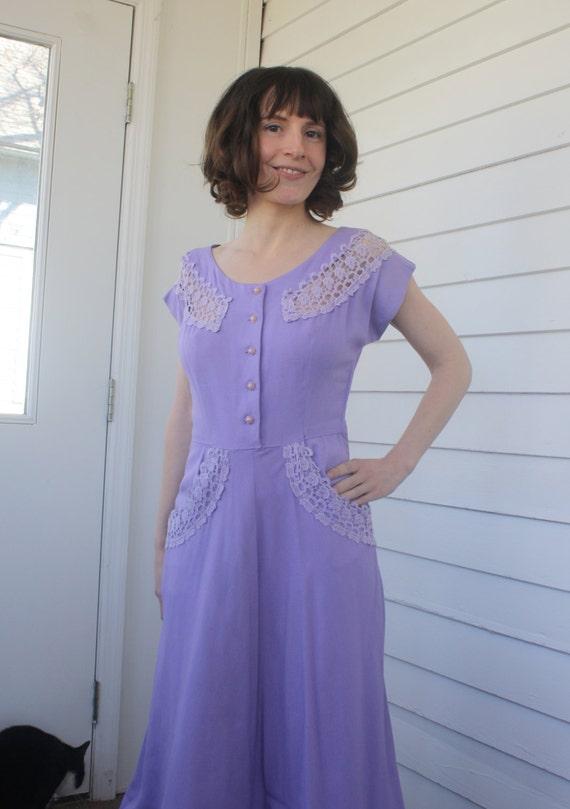50s Purple Dress Vintage Jay Day Lace Linen XS
