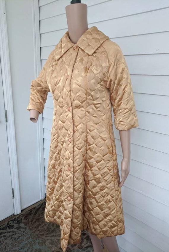 Quilted Gold Robe Bedjacket Dressing Gown 60s Vin… - image 7