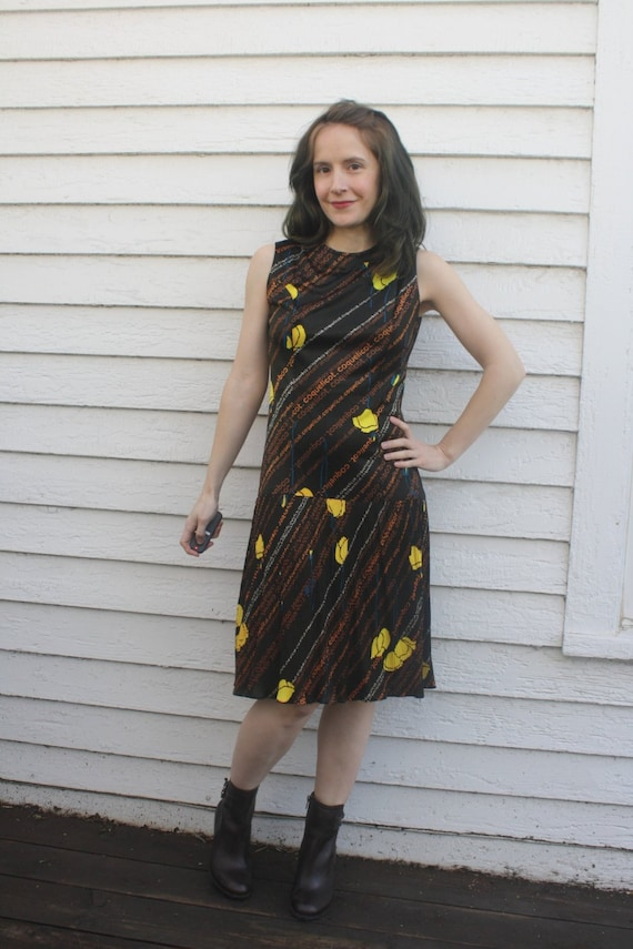 70s Brown Poppy Dress Mod Yellow French Coquelicot