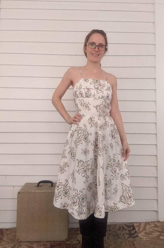 50s White Print Dress 1950s Bombshell Summer Sun X