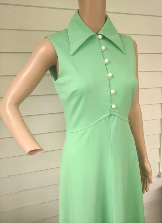 Light Green Dress Maxi Mint Vintage 70s S - image 4