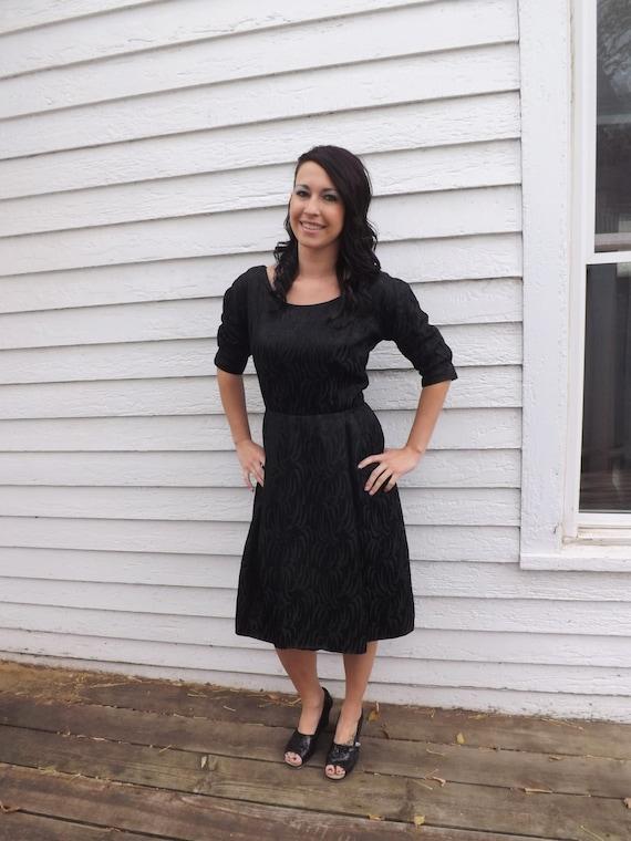60s Black Dress Designer Cocktail Party Evening H… - image 5