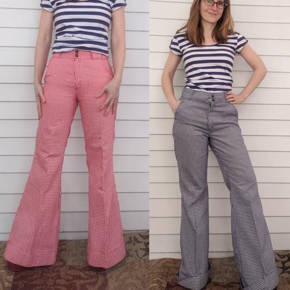 70s Gingham Plaid Pants 31 Inseam Blue M