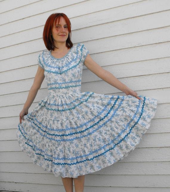 Vintage White Toile Print Square Dance Dress Full