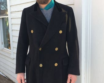 Vintage Mens 30s Coat Double Breasted Winter Black 39 Finchley Fashion AS IS
