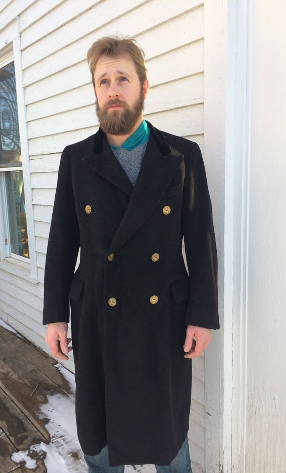 Vintage 30s Coat Mens Double Breasted Winter Black