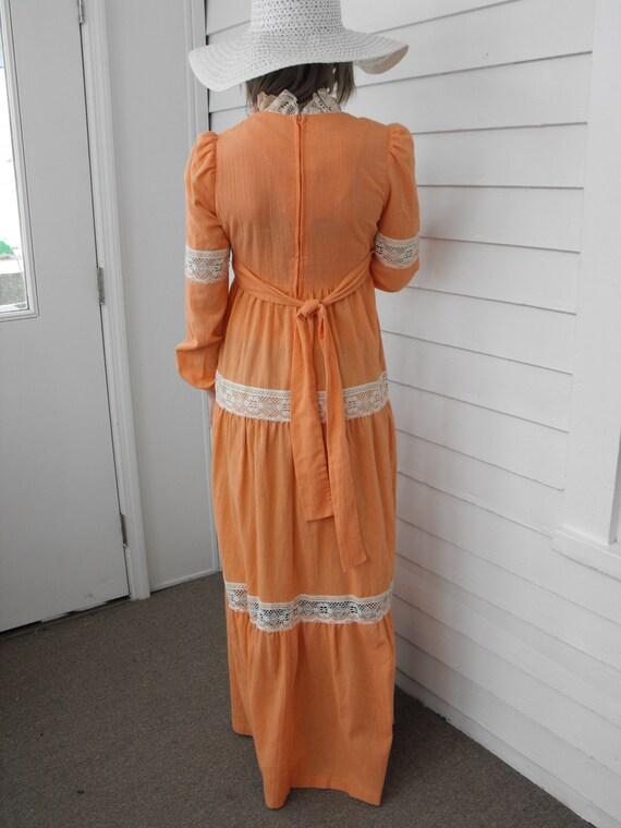 Prairie Dress Gunne Sax Style 70s Vintage Orange … - image 3