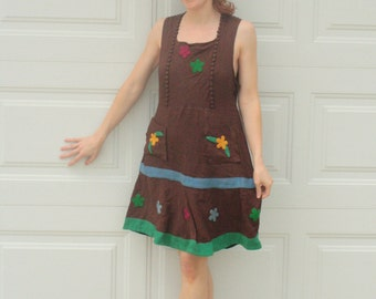 30s Floral Applique Dress Brown Summer Country Folk S