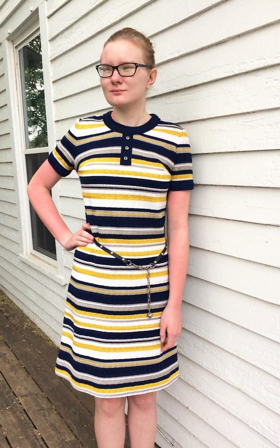 Striped 70s Dress Casual Yellow Blue White Stretch M 1970s  6adf80d5d