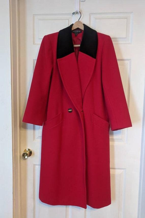 80s Red Winter Coat Wool Donnybrook Velvet Trim Re