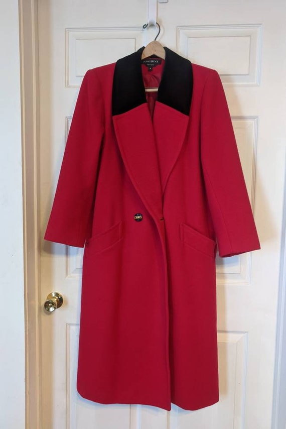 80s Red Winter Coat Wool Donnybrook Velvet Trim R… - image 1