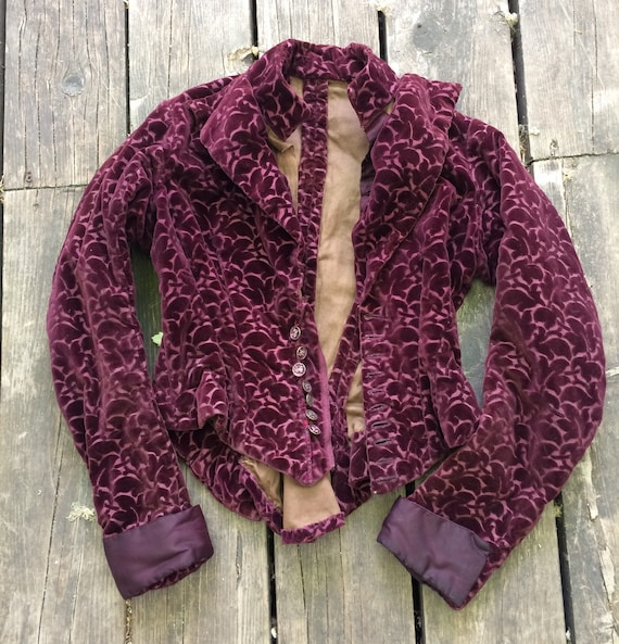 Victorian Jacket Purple Velvet Brocade 1800s Antiq