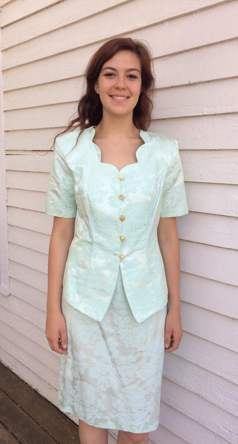 80s Jacket and Skirt Pale Mint Floral Suit Embossed M