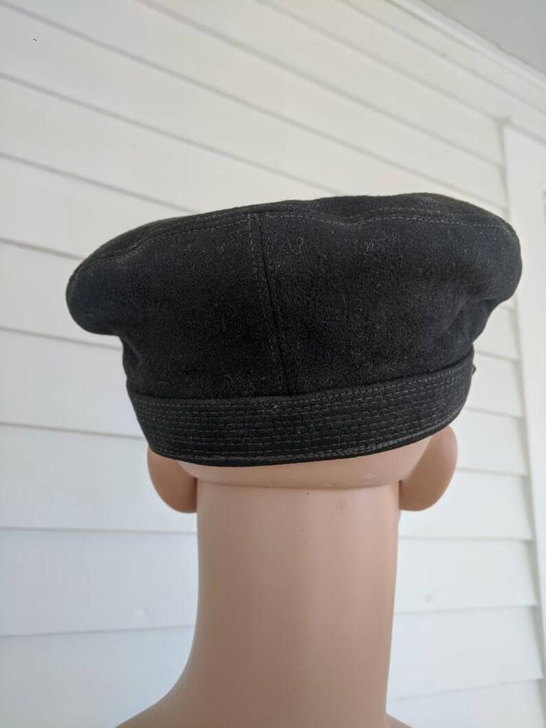 Antique Cap Spink /& Co Mandan ND Vintage Mens Hat Black Wool