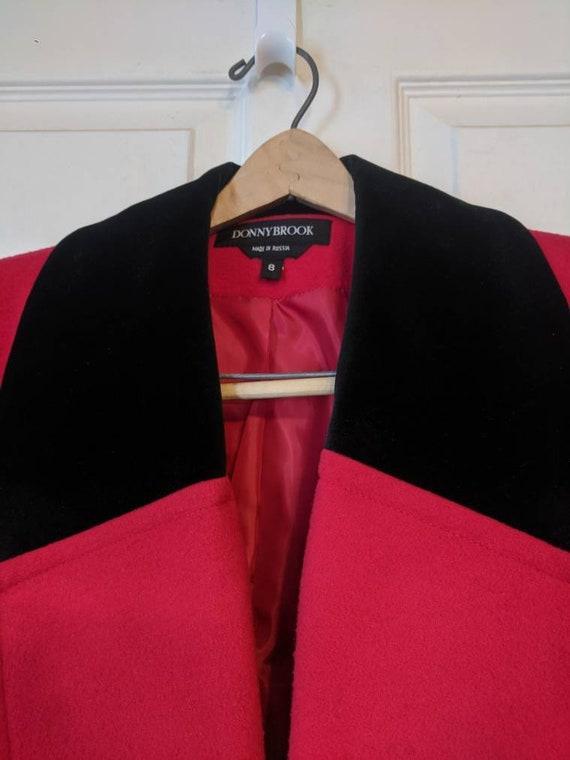 80s Red Winter Coat Wool Donnybrook Velvet Trim R… - image 4