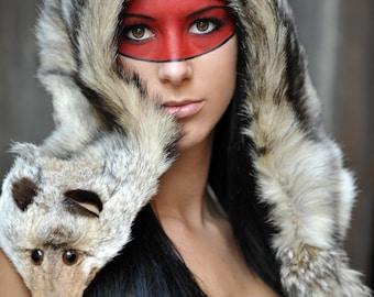 dca505b863e1f0 Vintage Genuine Fox Fur Lined Hood Hat Trapper Tribal Viking