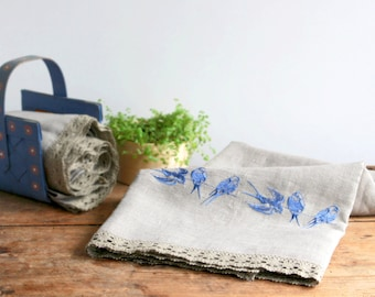 Natural Linen Sauna Bath Towel with Lace and Embroidery, Handmade, Large size, Grey, 100% Pure Linen, Guest Towel, Eco-friendly Gift