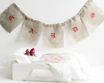 Burlap Wedding Banner, Embroidered Cards Banner, Jute Card Banner, Burlap Card Sign, Rustic Wedding Decor