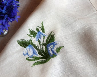 White Linen Table Runner, Snowdrop Embroidery, Handmade Table Cloth, Wedding Decor, 100% Pure Flax Linen, Mitered Corners, Rustic Linens