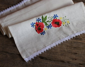 Natural Linen Tea Towel, Embroidered Floral Hand Towel, Handmade, Ethnic Pattern, White, 100% Pure Linen Guest Towel, Eco-friendly Gift