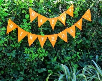 Linen Birthday Banner, Embroidered Flag Banner, Orange Linen Garland, Linen Sign, Rustic Wedding Decor