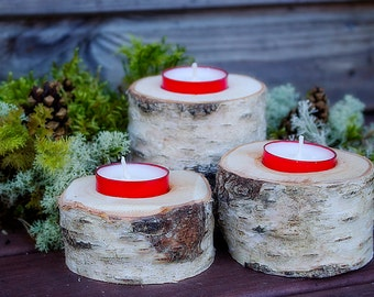 Set of 3 Birch Rustic Wood candleholder Perfect for Rustic Country Woodland Primitive Decor Christmas tealight