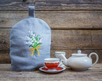 Small Linen Coffee Pot Cozy, Embroidered, Pure Linen Coffee Pot Warmer, Handmade, Small Size Cozy warmer