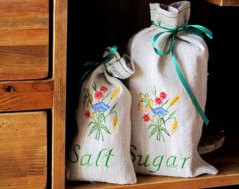 Natural Linen Sugar and Salt Bag Set of 2, Embroidered, Burlap Condiment Holder, Handmade Sachet, Grey, 100% Pure Linen, Eco-friendly Gift