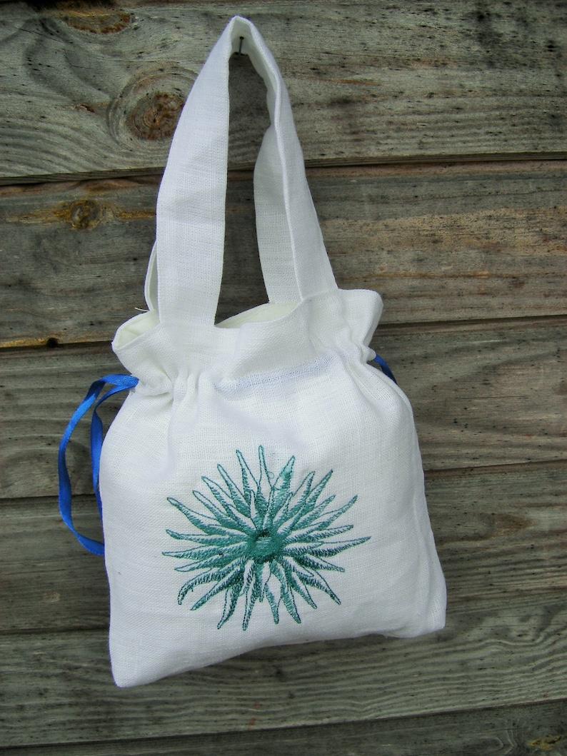 f508e4b51cb Linen Girl Handbag, Embroidered Wedding Sachet, Small Handmade Blue Flower  Bag, White, Rustic Party Bag