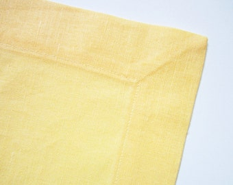 Light Yellow Linen Napkin, Handmade Table Linen, Linen Wedding Decor, Dining Supply, Home Textiles, Mitered Corners