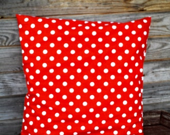 Red Polka Dot Pillow Cover, Throw Pillow 16x16 inch, Decorative Pillow, 100% Pure cotton Shams, Handmade Customizable Cushion