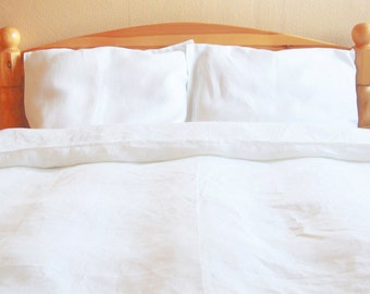 White Natural Linen Duvet Cover in Single, Twin, Double, Queen Sizes, 100% Linen Duvet Cover