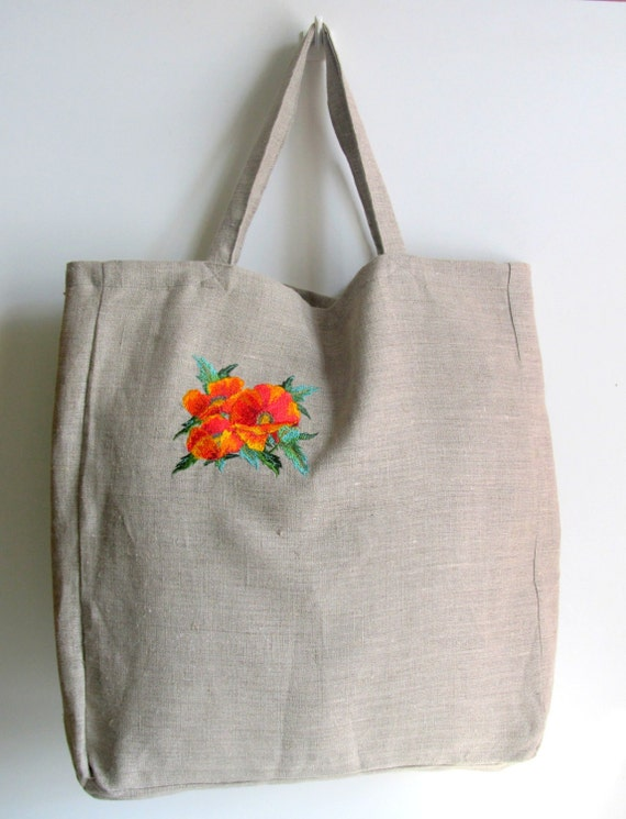 2cad5c4a383 Linen Tote Bag, Embroidered Bag, Natural linen, Large size, Grocery  Reusable Bag, Eco-friendly, Natural Beach Tote Bag