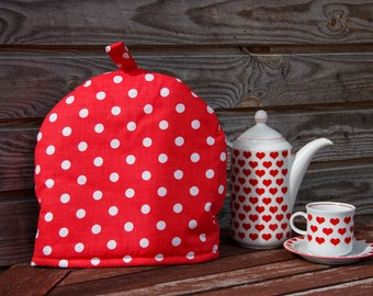 Cotton red and White Polka Dot Coffee Pot Cozy,  Coffe lover, White, Pure Cotton Coffee Pot Warmer, Handmade,  Small Size