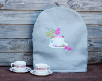 Linen Coffee Pot Cozy, Embroidered, Pure Linen Coffee Pot Warmer, Handmade, Large SizeCoffee Cozy