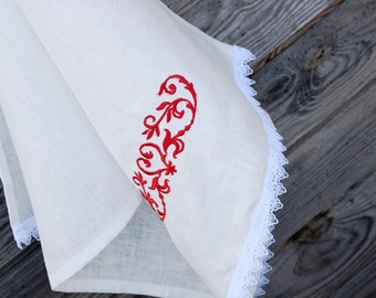 White Linen Tea Towel, Embroidered Hand Towel, Handmade, Ethnic Pattern, 100% Pure Linen Guest Towel, Eco-friendly Gift