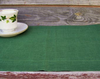 Dark Green Linen Placemat, Handmade Table Linen, Linen Wedding Decor, Dining Supply, Home Textiles, Mitered Corners