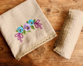 Bath, Washcloth, Linen towel, Gift, Bathroom towel, Bathroom decor, Embroidered towel, Linen home decor, Towel, Linen towels, Bathroom,