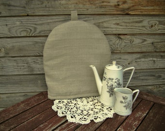 Linen Coffee Pot Cozy, Linen Cozy, Natural, Pure Linen Coffee Pot Warmer, Handmade, Large Size